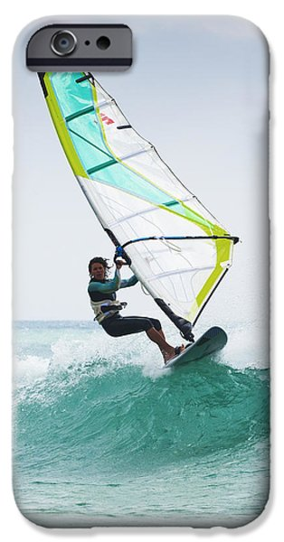 Luz iPhone Cases - Windsurfing Off Punta Paloma Tarifa iPhone Case by Ben Welsh