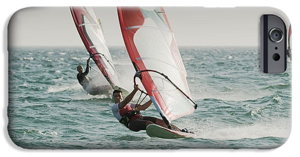 Sail Board iPhone Cases - Windsurfing Tarifa Cadiz Andalusia Spain iPhone Case by Ben Welsh