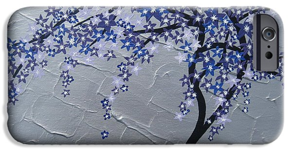Cherry Blossoms Mixed Media iPhone Cases - Windy iPhone Case by Cathy Jacobs