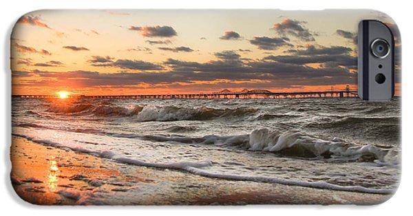 Recently Sold -  - Bay Bridge iPhone Cases - Windy Chesapeake Bay Bridge Sunset iPhone Case by Mark  Dignen