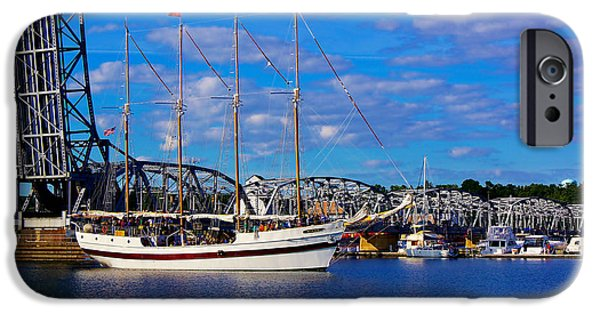 Tall Ship iPhone Cases - Windy Under the Michigan Street Bridge iPhone Case by Carol Toepke