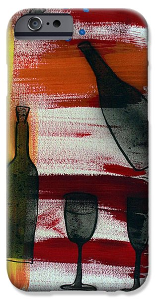 Glass Of Wine Paintings iPhone Cases - Wine - 1717 iPhone Case by Richard Sean Manning