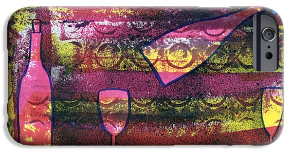 Glass Of Wine Paintings iPhone Cases - Wine - 1720 iPhone Case by Richard Sean Manning