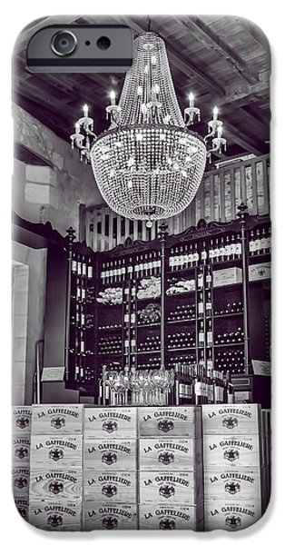 Vintage Wine Lovers Photographs iPhone Cases - Wine and Chandeliers black and white iPhone Case by Nomad Art And  Design
