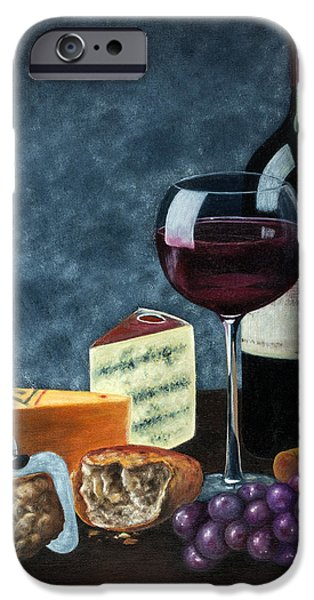 Table Wine iPhone Cases - Wine and cheese iPhone Case by Fernando Barozza
