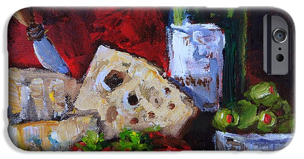 Italian Wine Paintings iPhone Cases - Wine and Cheeses iPhone Case by Carole Foret