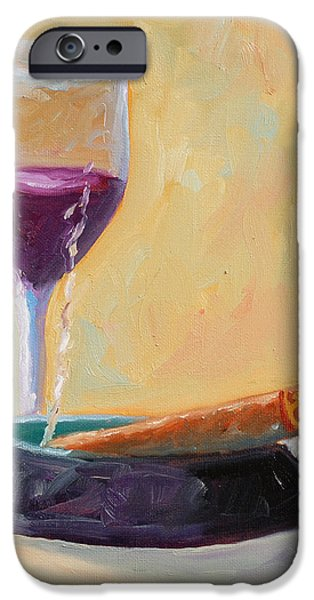 Wine and Cigar iPhone Case by Todd Bandy