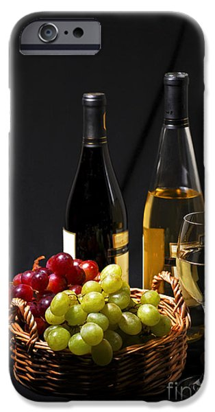 Relaxed iPhone Cases - Wine and grapes iPhone Case by Elena Elisseeva