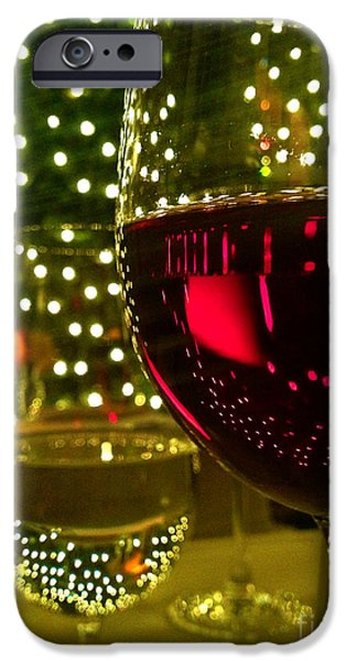 Table Wine iPhone Cases - Wine and Lights iPhone Case by Micah May