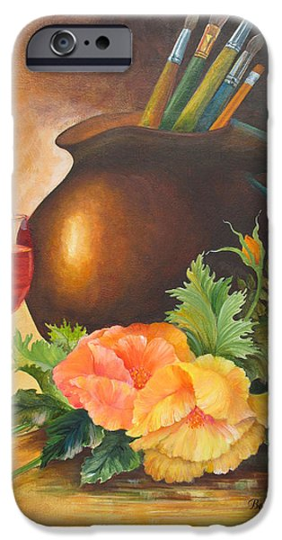 Reflection In Pitcher iPhone Cases - Wine And Poppies iPhone Case by Beverly Martin
