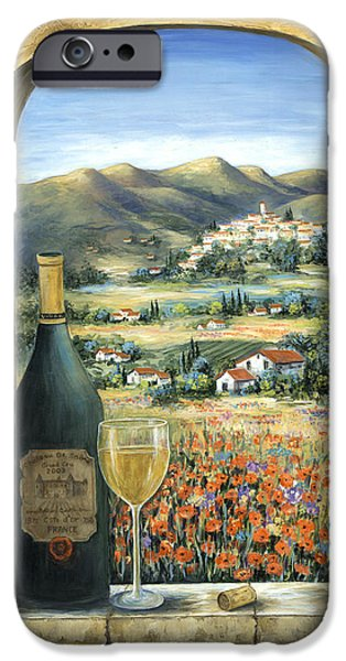 Wine Bottles Paintings iPhone Cases - Wine And Poppies iPhone Case by Marilyn Dunlap
