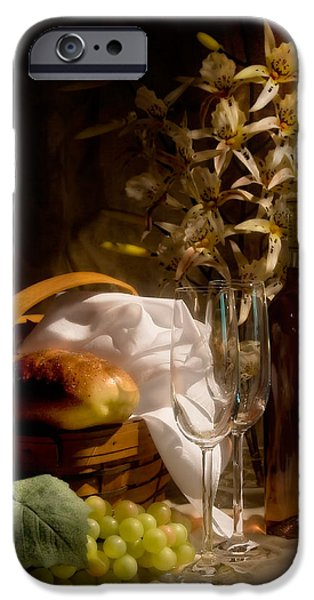 Wine Bottles Photographs iPhone Cases - Wine and Romance iPhone Case by Tom Mc Nemar