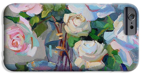 Goblet iPhone Cases - Wine and Roses iPhone Case by Diane McClary