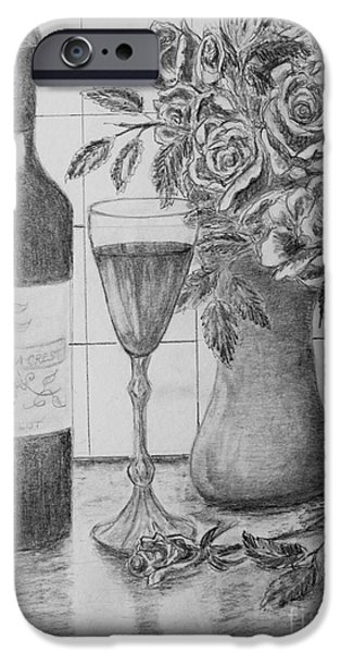 Table Wine Drawings iPhone Cases - Wine and Roses iPhone Case by Marlene Kinser Bell