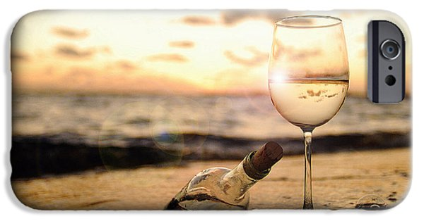Wine Bottles Photographs iPhone Cases - Wine and Sunset iPhone Case by Jon Neidert