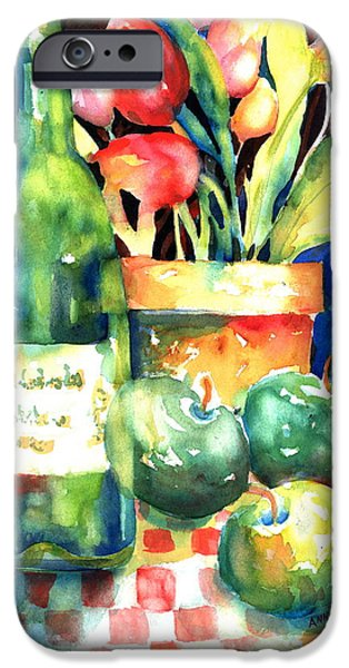 Table Wine iPhone Cases - Wine and Tulips iPhone Case by Ann  Nicholson