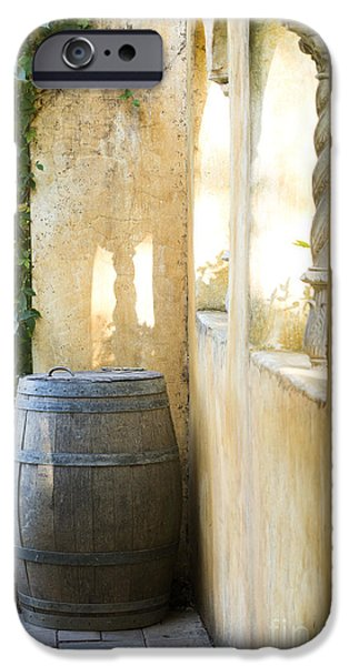 Red Wine iPhone Cases - Wine Barrel at the Vineyard iPhone Case by Jon Neidert