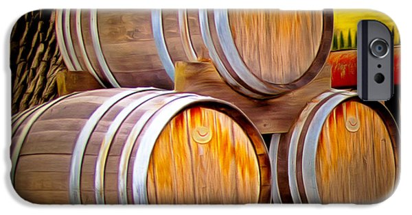 Barrel Paintings iPhone Cases - Wine Barrels Blackjack Winery iPhone Case by Barbara Snyder