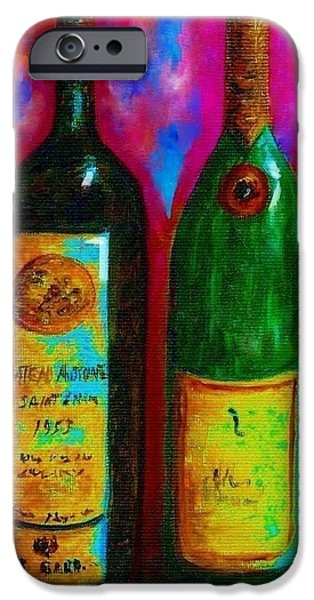 Wine Bottle Quartet on a Blue Patched Wall iPhone Case by Eloise Schneider