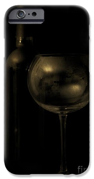 Wine Bottle iPhone Cases - Wine Bottle Still Life Deep Red iPhone Case by Edward Fielding