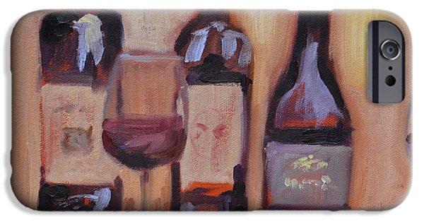 Red Wine iPhone Cases - Wine Bottle Trio iPhone Case by Donna Tuten