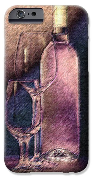 Wine Pour iPhone Cases - Wine Bottle with Glasses iPhone Case by Tom Mc Nemar