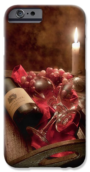 Wine Bottles iPhone Cases - Wine by Candle Light I iPhone Case by Tom Mc Nemar