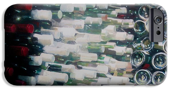 Wine Bottles iPhone Cases - Wine Cellar, 2012 Acrylic On Canvas iPhone Case by Lincoln Seligman