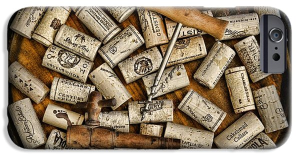 Stopper iPhone Cases - Wine Corks on a Wooden Barrel iPhone Case by Paul Ward