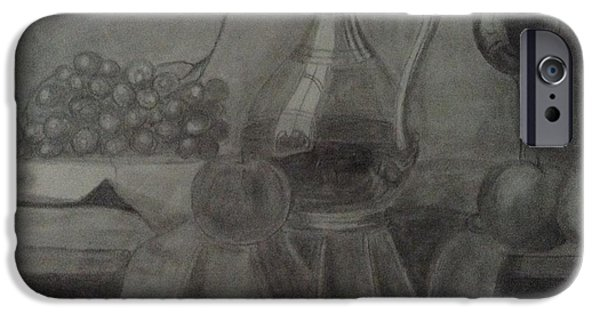 Table Wine Drawings iPhone Cases - Wine Dinner iPhone Case by Janelle Merryman