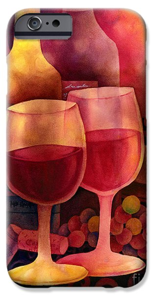 Red Wine iPhone Cases - Wine for Two iPhone Case by Hailey E Herrera