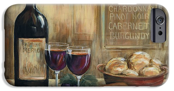 Wine Bottles Paintings iPhone Cases - Wine For Two iPhone Case by Marilyn Dunlap