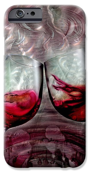 Toasting iPhone Cases - Wine Glass 2 iPhone Case by Luis  Navarro