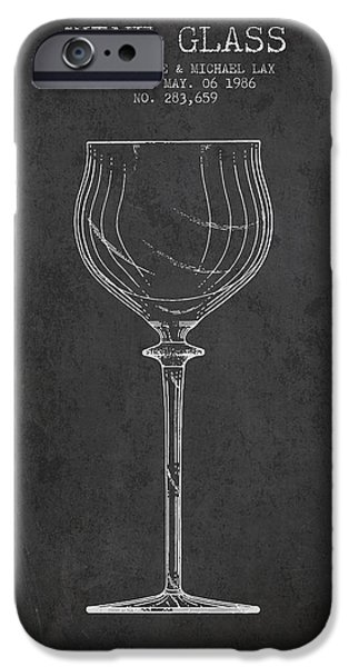 Wine Illustrations iPhone Cases - Wine Glass Patent from 1986 - Charcoal iPhone Case by Aged Pixel