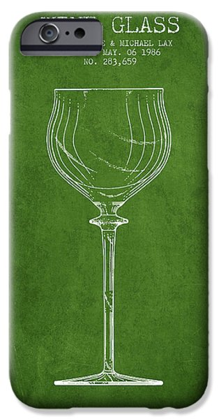 Wine Illustrations iPhone Cases - Wine Glass Patent from 1986 - Green iPhone Case by Aged Pixel
