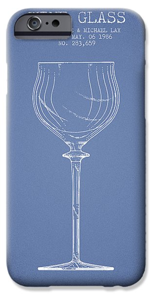 Wine Illustrations iPhone Cases - Wine Glass Patent from 1986 - Light Blue iPhone Case by Aged Pixel
