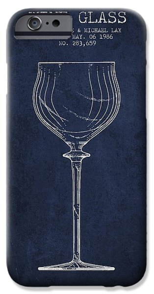 Wine Illustrations iPhone Cases - Wine Glass Patent from 1986 - Navy Blue iPhone Case by Aged Pixel