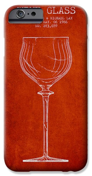 Wine Illustrations iPhone Cases - Wine Glass Patent from 1986 - Red iPhone Case by Aged Pixel
