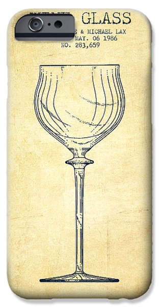 Wine Illustrations iPhone Cases - Wine Glass Patent from 1986 - Vintage iPhone Case by Aged Pixel