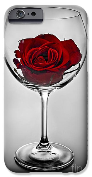 Red Wine iPhone Cases - Wine glass with rose iPhone Case by Elena Elisseeva
