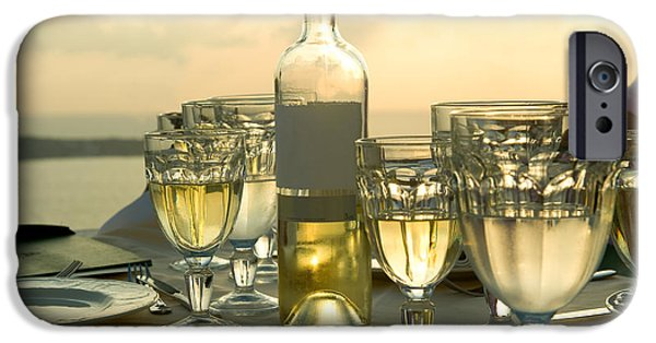 Table Wine iPhone Cases - Wine Glasses With A Wine Bottle iPhone Case by Panoramic Images