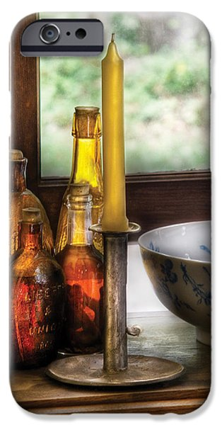 Wine - Nestled in a corner of a window sill  iPhone Case by Mike Savad
