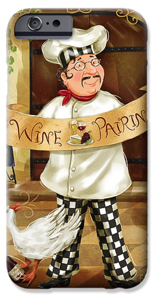 Chef iPhone Cases - Wine Pairing Chef iPhone Case by Shari Warren