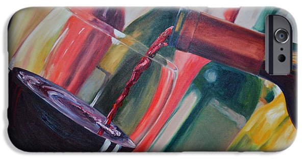 Red Wine iPhone Cases - Wine Pour III iPhone Case by Donna Tuten