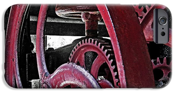 Mechanism iPhone Cases - Wine Press Gears iPhone Case by Dawn Gari