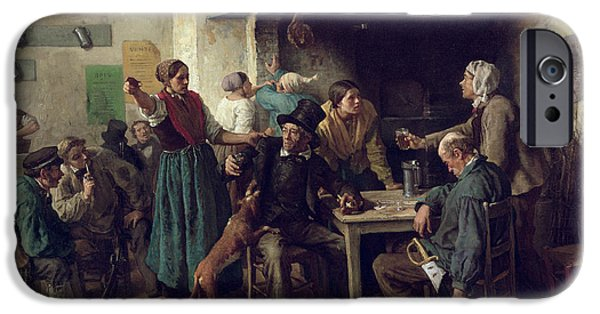 Playing Cards iPhone Cases - Wine Shop Monday, 1858 Oil On Canvas iPhone Case by Jules Breton
