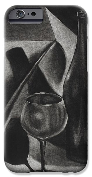 Table Wine Drawings iPhone Cases - Wine Still life iPhone Case by Michelle L Bolin