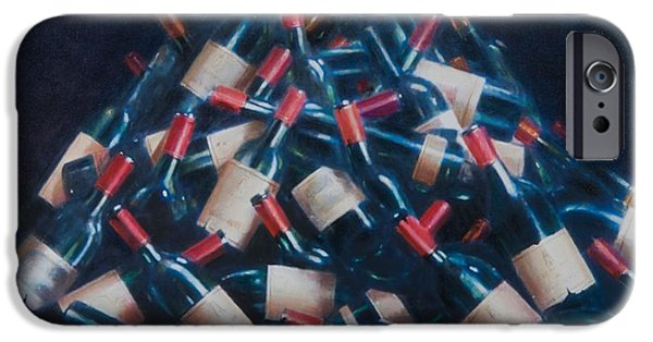 Wine Bottles iPhone Cases - Wine Tasted, 2012 Acrylic On Canvas iPhone Case by Lincoln Seligman