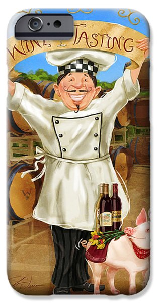Chef iPhone Cases - Wine Tasting Chef iPhone Case by Shari Warren