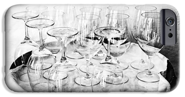 Wine Reflection Art iPhone Cases - Wine Tasting Glasses BW iPhone Case by Nomad Art And  Design